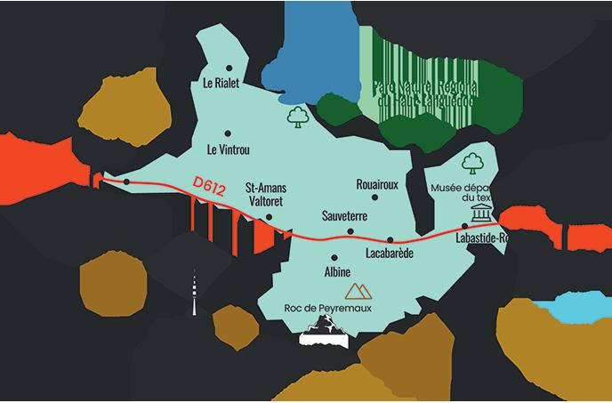 Carte territoire Vallée du Thoré Montagne Noire